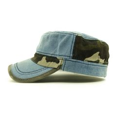 Distressed color washed cotton denim <font><b>camouflag</b></font> flat top military army <font><b>cap</b></font> hat for women adult adjustable Price: USD 6.4 | UnitedStates