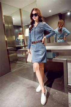 Los más vendidos 2016 primavera nueva moda Coreana mujeres de gran tamaño de la solapa de vestido de mezclilla ocasional simple Delgado paquete hip vestido de mezclilla en Vestidos de Ropa y Accesorios de las mujeres en AliExpress.com | Alibaba Group