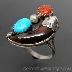 Native American Ella Cowboy Navajo Turquoise Coral & Bear Claw Sterling Silver Ring - Size 6.5