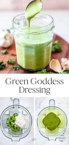 How to make Green Goddess Salad Dressing. This vegan recipe is smooth, creamy, and full of herby flavour! Drizzle on salads and buddha bowls. Green Goddess Salad Dressing, Goddess Dressing Recipe, Buddha Bowl Dressing Recipe, Best Vegan Salads, Salad Works, Dressings, How To Make Greens, Dips, Vegan Recipes