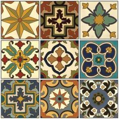 Hand Painted Tiles Atticmag Kitchens, Bathrooms, Interior Design Click the image to read more! Painting Ceramic Tiles, Tile Art, Mosaic Tiles, Painted Tiles, Pottery Painting, Tile Patterns, Textures Patterns, Tuile, Style Deco