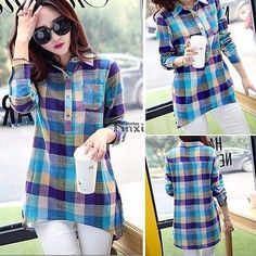 Fashion Women Ladies Check&Plaids Loose Long Sleeve Casual Blouse T-Shirt Tops Crop Top Shirts, Long Sleeve Shirts, Flannel Shirts, Tank Tops, Casual Tops, Casual Shirts, Plaid, E Bay, Fasion