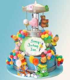 Two-Tier Fondant Clown Carnival Cake: Specialty Cake-0369 | Palermos Bakery