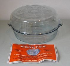 FIRE-KING BLUE SAPPHIRE PHILBE LARGE 2 PIECE ROASTER & LABEL