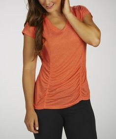 Look at this #zulilyfind! Heather Spicy Orange Ruched Shaper Slimming Tee #zulilyfinds Wore a friends this weekend and went searching for one and Zulily had them on sale YIPEE! It was amazing on hiding my bloated tummy!