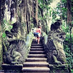 Monkey Forest, Ubud, Bali, Ubud, Indonesia — by Fen. The stairs with the sculptures in Monkey Forest. #ubud