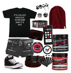 """Twenty one Pilots outfit"" by moriartywasreal ❤ liked on Polyvore featuring Converse, Aéropostale, Manic Panic NYC and Sugarpill"