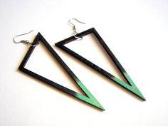 Geometric Earrings , Wood Triangles Earrings,Geometric Jewelry on Etsy, $18.00