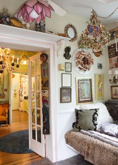 ...not a studio, but check out the lamp on the fan, the painted figures on the wall, the chandelier and all the textiles, all can be incorporated....Adam's DIY Ode To Ornamentalism House Tour | Apartment Therapy