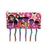 Kasla 6Pcs Rose Makeup Brush Set Cosmetic Brush Kabuki Foundation Powder Cream Eyebrow Eyeliner Blush Makeup Brushes(Hyun Pink Purple)