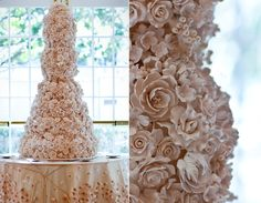 Rose Petal Cake: This is not a cake. This is a work of art. Well, it is actually a cake… you know what we mean. (via Strictly Weddings) Crazy Wedding Cakes, Creative Wedding Cakes, Wedding Cake Roses, Wedding Cakes With Cupcakes, Beautiful Wedding Cakes, Wedding Cake Designs, Beautiful Cakes, Dream Wedding, Rose Wedding