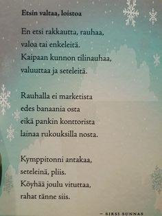 Etsin valtaa, loistoa by Sirsi Sunnas jouluruno joulu runot jouluntoivotus Antti Holma