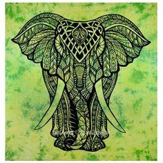 Green Tie Dye Valentina Harper Ruby The Asian Elephant Tapestry