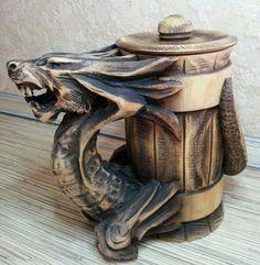 Wooden Tankard Beer Dragon Stein Mug Carved by AuthenticSiberia