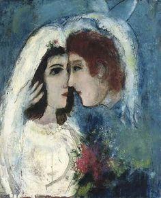 """Marc Chagall """"Innamorati di profilo"""" 1950"""