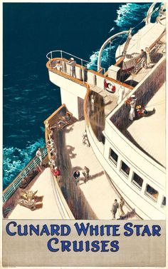 Cunard-White Star Cruises Travel Poster (c. 1936)The British shipping company, White Star Line, is most known for its cutting edge vessel Oceanic of 1870, the disastrous RMS Titanic, and the World War I loss of the ship Britannic. In 1934, the company merged with its chief rival the Cunard Line. Cunard-White Star Line, Ltd. existed until 1950, when Cunard began operating independently. Today the company is best recognized for its ships Queen Mary 2, Queen Victoria, and Queen Elizabeth.