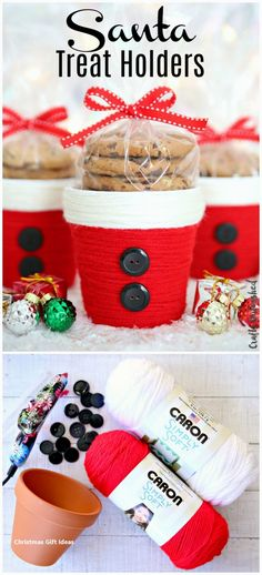 DIY Christmas Treat Holder: Santa Cup – Consumer Crafts Yarn Wrapped Santa Treat Holders Related posts:Easy art project for kids using a canvas and tape! A ton of DIY super easy kids . Homemade Christmas, Diy Christmas Gifts, Christmas Treats, Christmas Fun, Christmas Decorations, Christmas Vacation, Halloween Decorations, Christmas Quotes, Christmas Projects