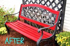 acultivatednest.com: painted garden bench makeover