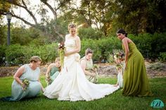 What would she do without her bridesmaids?  Late summer wedding in Ojai California made perfect by beautiful ladies helping the bride at the Glen Muse Estate