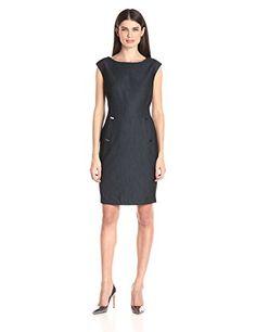 Calvin Klein Women's Denim Sheath with Hardware Detail, Blue, 4 Cap sleeve  denim sheath with hardware detailCap-sleeve denim sheath with princess  seams ...