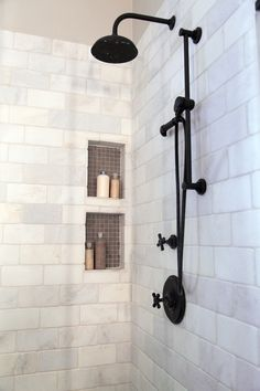Master bathroom remodel, shower, shampoo niche | Interior designer: Carla Aston - Photographer: Tori Aston