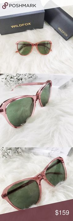 """new//wildfox • parker sunglasses 🛍: wildfox ▫️""""Parker"""" sunglasses in crystal pink color ▫️cateye style ▫️green tinted lenses ▫️optical grade CR39 lenses ▫️UV A & B protection ▫️comes with box, case, and cloth ▫️condition: brand new in box, no tag tho.   •please read description & ask questions before purchasing• •no trades• Wildfox Accessories Sunglasses"""