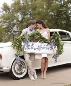 """Just Married sign featured in """"Pretty Love"""" in Brides of North Texas magazine. Dress by #VictoriaNicole Fall 2011 Collection"""