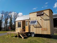 An owner-built tiny house on wheels in Landeleau, Brittany, France. Owned and built by Stéphane Boleat