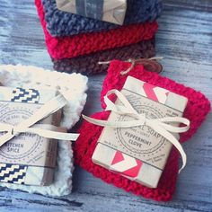 Bath Gift Set Organic Soap & Hand-Knit por TheHerbalWorkshop