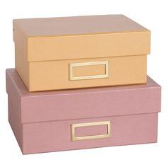 2 boîtes en carton jaune et rose | Maisons du Monde