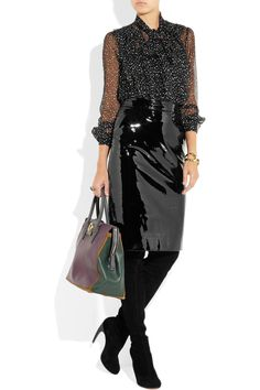 Black patent leather pencil skirt chic | Nothing Wrong About ...
