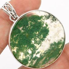 Moss-Agate-925-Sterling-Silver-Pendant-Jewelry-SP177423