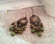 Fligree Victorian Earrings,Antique Renessance jewelry,Romantique Vintage style earrings.Chandelier Earrings.Green opal beads earrings by ezdessin. Explore more products on http://ezdessin.etsy.com