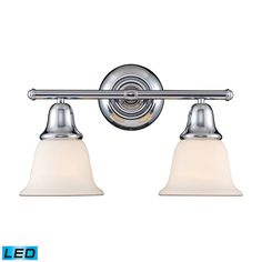 Berwick 2 Light LED Vanity In Polished Chrome And White Glass 67011-2-LED