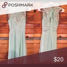 Mint Lace dress 💗💗 Super cute and flowy! Super light material! Worn once. Ties at the neck in the back! Adorable and super flattering! Make me an offer! I love to bundle! 💗💗💗 Dresses Backless
