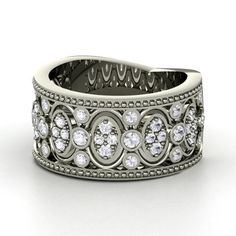 Renaissance Band Sterling Silver Ring with White Sapphire $1318