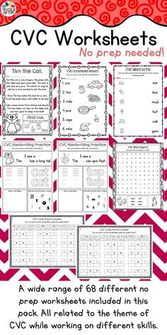 This CVC Worksheet pack consists of 68 no prep printable worksheets. There are a wide range of different no prep worksheets included in this pack all related to the theme of CVC while working on different skills.  It includes: ♦️ CVC handwriting practice