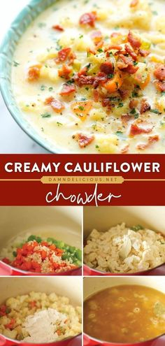 297 reviews · 45 minutes · Serves 6 · In the mood for good comfort food? Learn how to make Cauliflower Chowder! In just minutes, you can have a low-carb soup that is deliciously creamy and hearty. Save this fall recipe for a healthy… Fall Recipes, Soup Recipes, Dinner Recipes, Low Carb Recipes, Healthy Recipes, Yummy Recipes, Cauliflower Chowder, Bisque Recipe, Cast Iron Recipes
