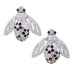 Diamond & Sapphire Bee Earrings, signed 'Salavetti' | 1stdibs.com