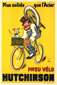 Artist: MICH (Michel Liebeaux, 1881-1923) Size: 31 3/8 x 47 1/2 in./79.8 x 120.5 cm Affiches Gaillard, Paris Hutchinson did not begin bicycle tire production until 1890. This figure by Mich became a trademark for the brand, being used in their advertisements for many years. Medium: Poster