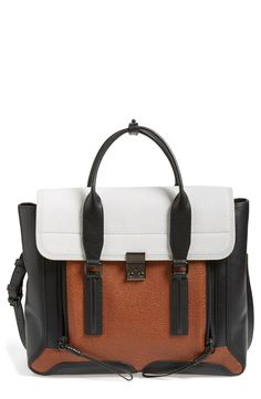 Pairing this copper multi-toned Phillip Lim leather satchel with a tan fringe poncho, platform booties and black leather skinny pants for an autumn-ready look. Nordstrom Anniversary Sale, Leather Satchel, Satchel Bag, 3.1 Phillip Lim, Beautiful Bags, Swagg, My Bags, Purses And Handbags, Bag Accessories