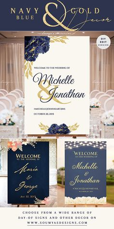 Navy Blue Gold Wedding Theme, Navy Gold Wedding Signs | Feel free to contact me for matching items. © Soumya's Invitations | Soumya S. Mohanty | All Rights Reserved. www.soumyasdesigns.com Imitation, modification, or derivative works (matching items) of this design in any form, for any use, without explicit authorisation from me, is strictly prohibited. #wedding #weddinginspiration #weddingdecor