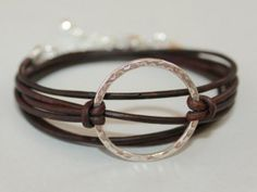 Boho LEATHER Circle Bracelet – Silver Infinity Circle Charm Triple Wrap Natural – Distressed – Metallic Leather with Extension Chain