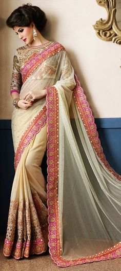 191019 Beige and Brown  color family Bridal Wedding Sarees,Party Wear Sarees in…
