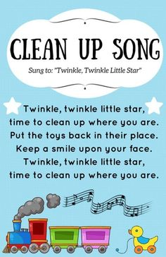 I designed a Clean Up Song poster to put in our early learning area. I was hopin… - Kindergarten Clean Up Song, Kindergarten Songs, Preschool Songs, Preschool Circle Time Songs, Preschool Lessons, Preschool Worksheets, Preschool Crafts, Sight Words, Toddler Circle Time