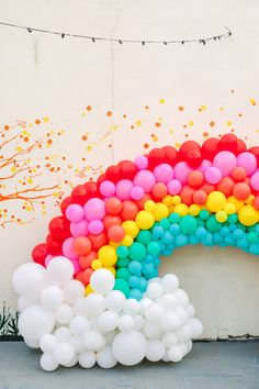 Rainbow balloons decor - First Birthday Party Decor Ideas - Birthday Party Inspirations - First Birthday Party Theme Idea Rainbow First Birthday, First Birthday Party Themes, Trolls Birthday Party, Unicorn Birthday Parties, Birthday Celebration, First Birthday Balloons, Rainbow Party Decorations, Rainbow Parties, Rainbow Theme