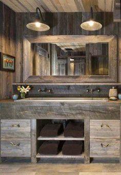 Awesome Farmhouse Bathroom Vanity Remodel Ideas – Best Home Decorating Ideas Rustic Bathroom Designs, Rustic Bathroom Vanities, Rustic Bathroom Decor, Modern Farmhouse Bathroom, Rustic Bathrooms, Rustic Farmhouse, Bathroom Ideas, Bathroom Plans, Master Bathroom