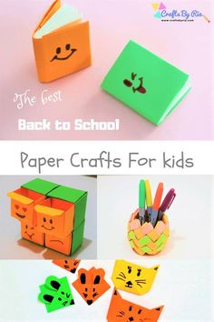 Here are 4 fun back to school paper crafts for kids of different ages. Corner bookmark and mini notebooks are perfect for preschoolers while the paper pen holder and mini organiser are idea for tweens and teens. These diy back to school crafts are sure go Paper Crafts For Kids, Diy Crafts For Kids, Fun Crafts, Summer Crafts, Diy Paper, Christmas Crafts To Sell, Diy Crafts To Sell, Homemade Crafts, Back To School Crafts