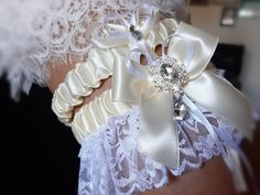 Ivory Bridal Garter, White Wedding Garter, Lace Garter, Bridal Lace, Wedding Accessories, Tape Measure, Thigh, Handmade, Etsy Shop