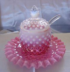 1940s Fenton Glass Cranberry Opalescent Hobnail 4pc Jam Set